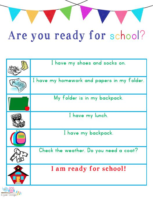 FREE printable list to help kids get out the door with everything they need for school! Great for going back to school and especially those starting Kindergarten