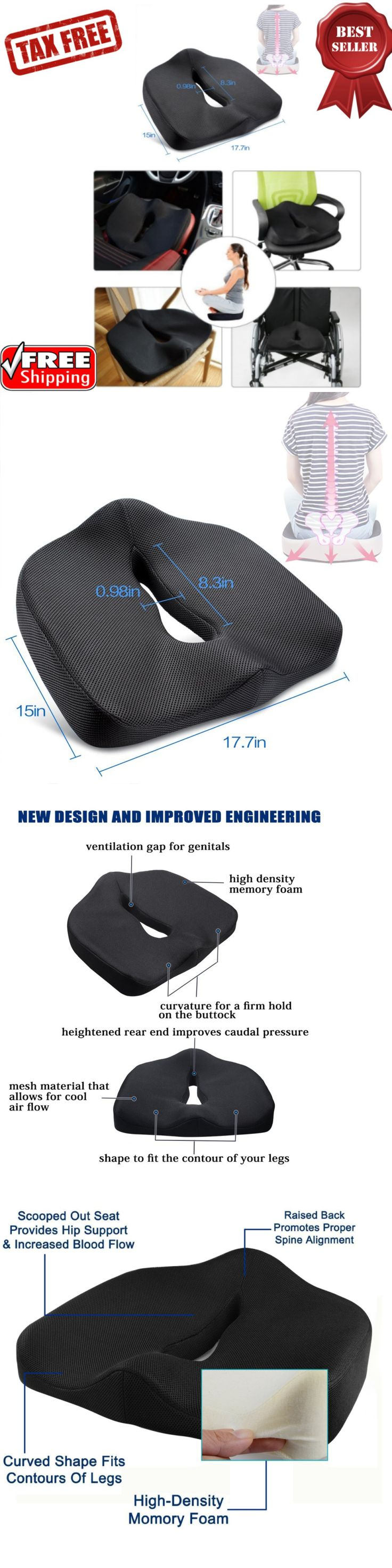 Seat and Posture Cushions: Orthopedic Foam Seat Cushion For Sciatica Lower Back And Tailbone W Wedges Pillow -> BUY IT NOW ONLY: $43.79 on eBay!
