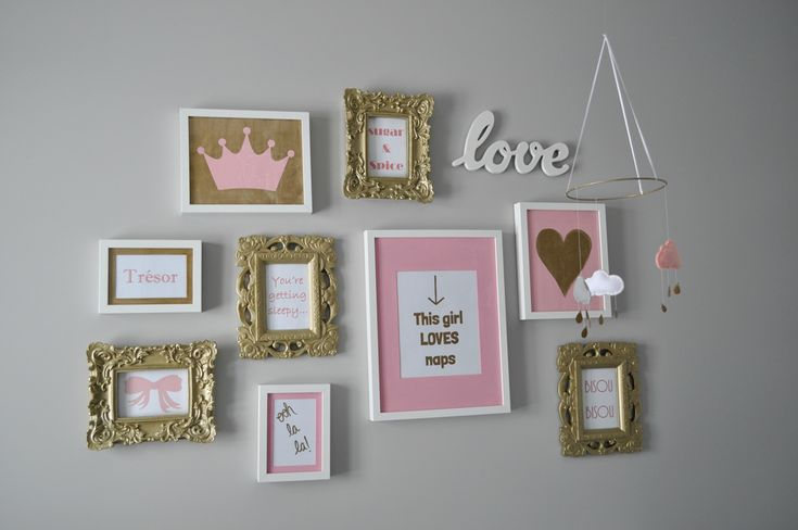 Decor Inspiration: A Pink, Gold, and Grey Nursery for a Baby Girl. Framed wall art, featuring chic typography and graphic design. #baby #babygirl #nursery