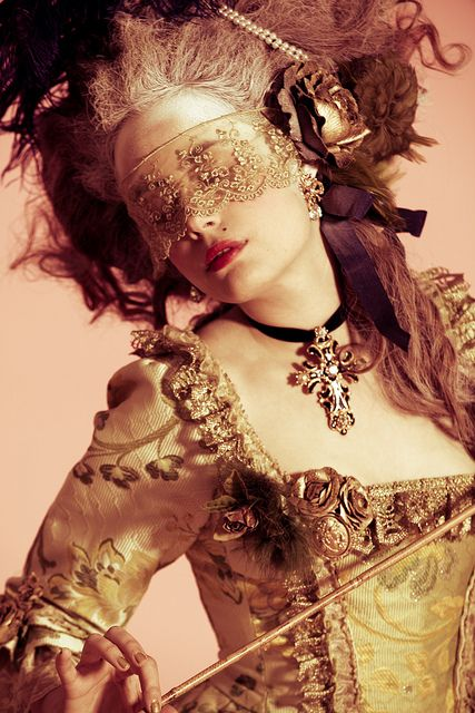 Steampunk.rococco french style lace mask gold dress cross choker big hair.