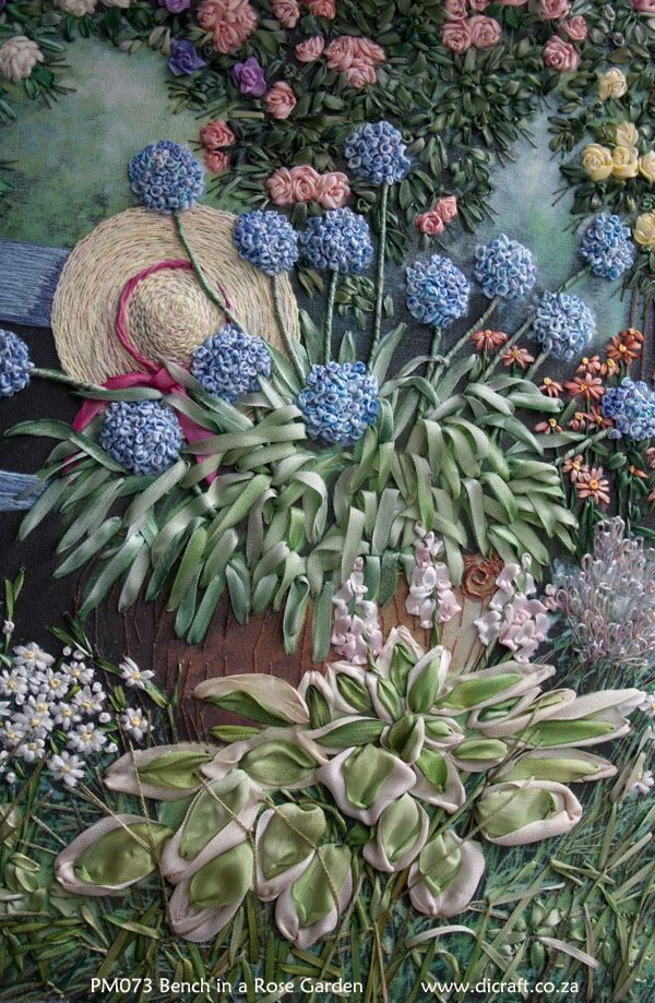 Rose Garden in silk ribbon embroidery