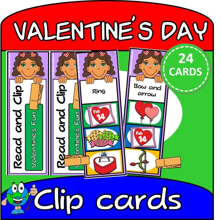 valentine's day set flash cards 2 sets of 24 clip cards