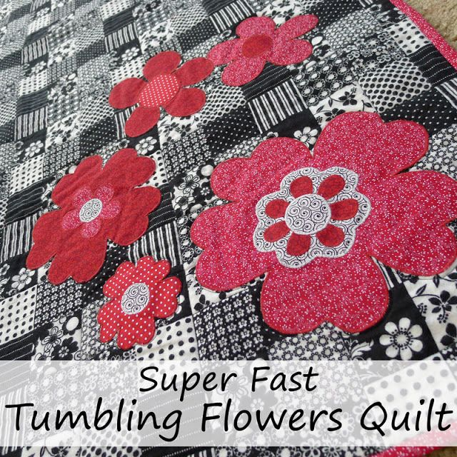 Pieces by Polly: Super Fast Tumbling Flowers Quilt with Free Templa...