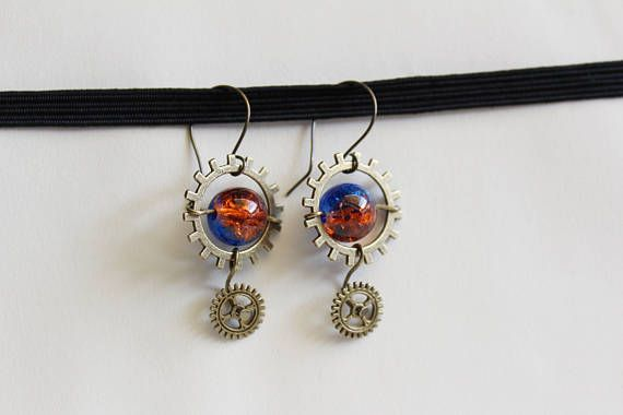Mysterious bicolor steampunk earrings in contrasting orange and blue color with bronze alloy lead, nickel and cadmium free