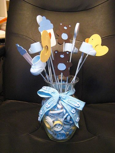 Centerpieces - Baby shower ideas...a few changes and can use for baptism.