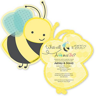 What Will it BEE? - Gender Reveal - Party Invitations - BabyShowerStuff.com