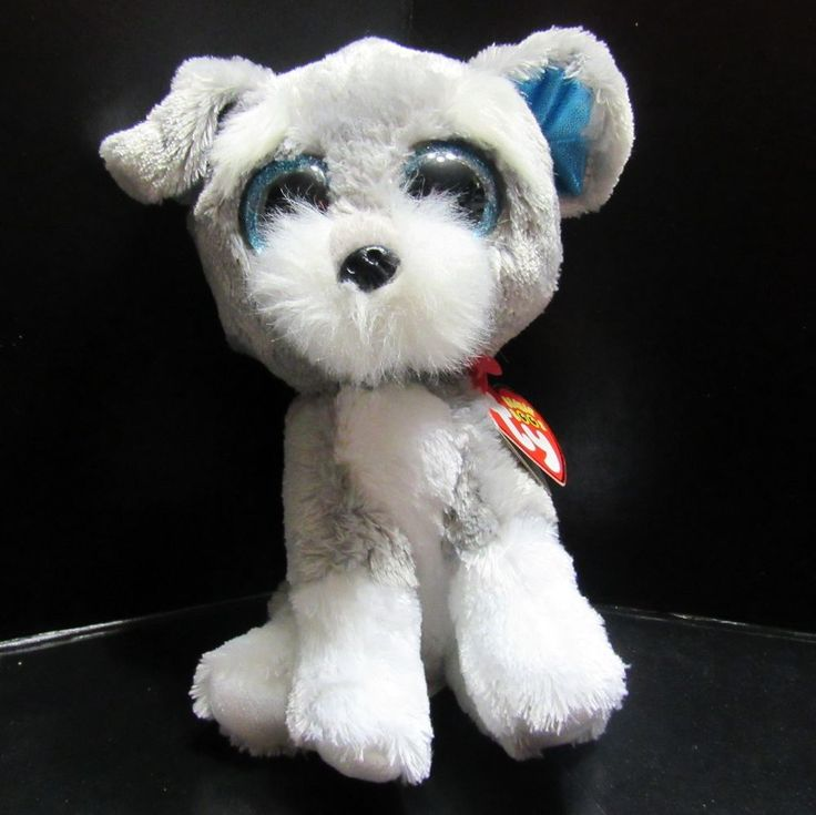 "Ty Beanie Boos Whiskers Dog Puppy 6"" Christmas Stocking Stuffer Plush Sparkle #Ty"
