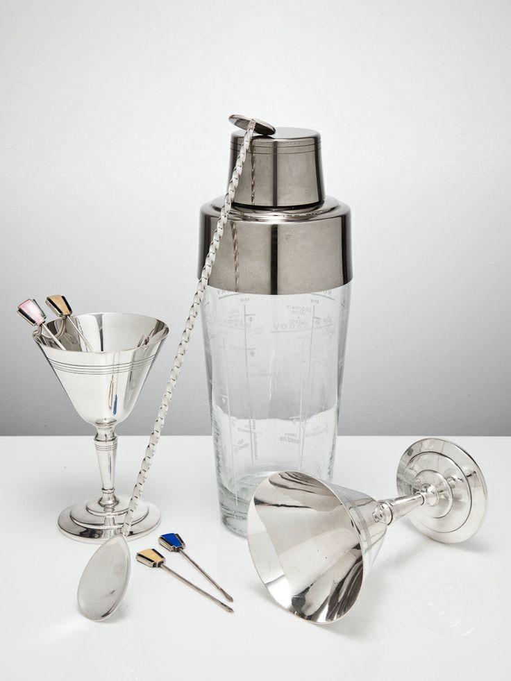 Mixologist kit - vintage silver cocktail shaker, stirrer, silver art deco coupes and cocktail sticks for a stylish flourish. www.silvervaultslondon.com