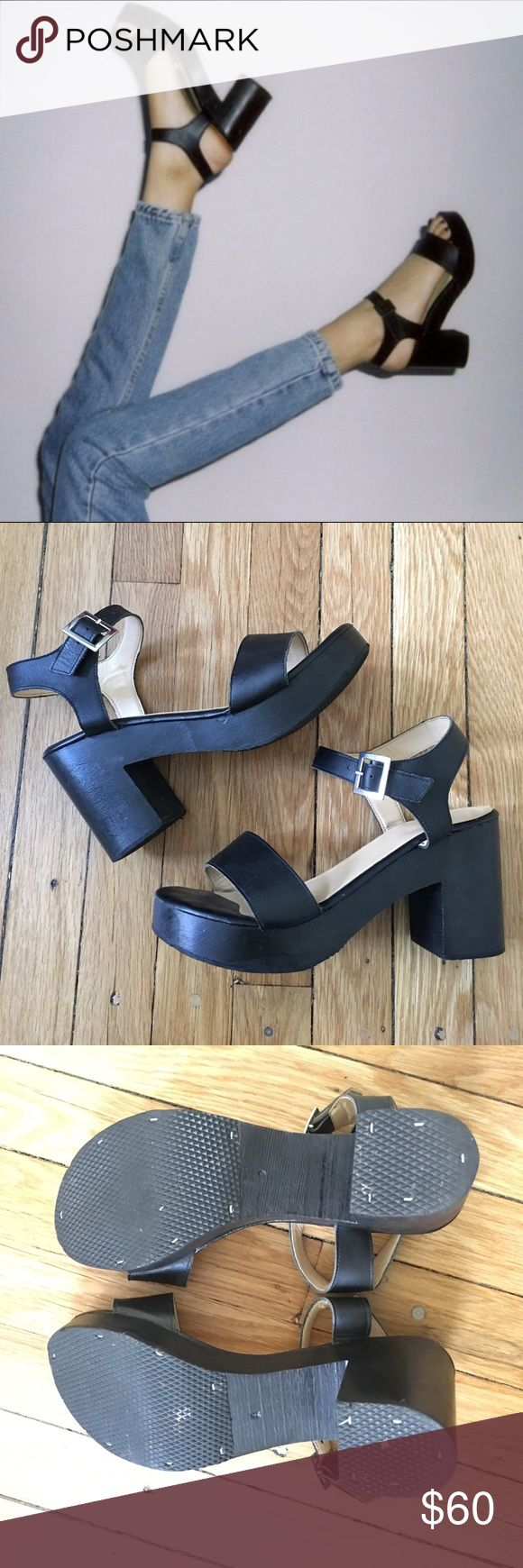 American Apparel Wooden Heels Great Condition, only used a few times.  American Apparel all black wooden heels.  Leather straps and wood platform. Size 9.  No longer made, get them while you can!!! American Apparel Shoes Heels