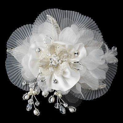 Vintage Style Wedding Clip Sheer Diamond White Organza with Freshwater Pearls