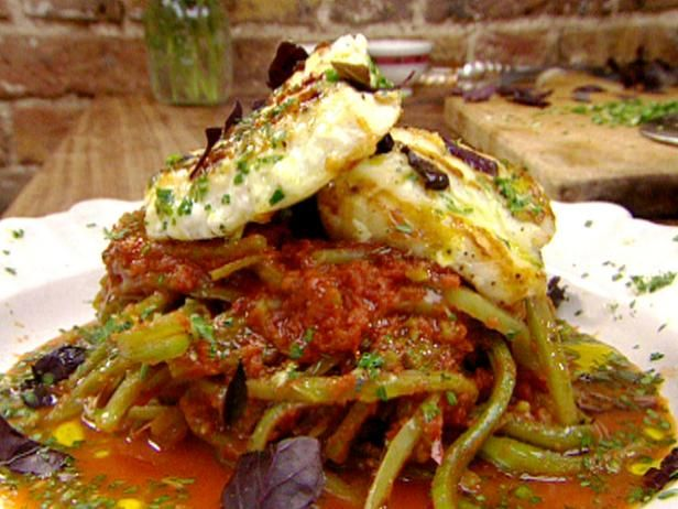 Get Grilled Butterflied Monkfish with a Sweet Runner Bean Stew Recipe from Food Network