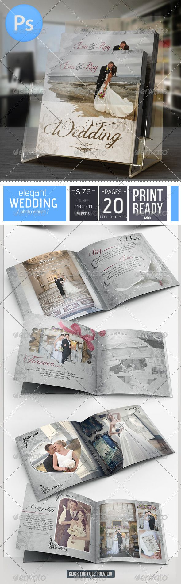20 Pages Elegant Wedding Photo Album For Photoshop - Photo Albums Print Templates