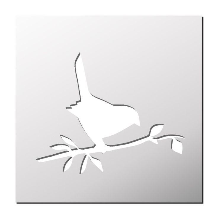 Pochoir Oiseau sur la Branche