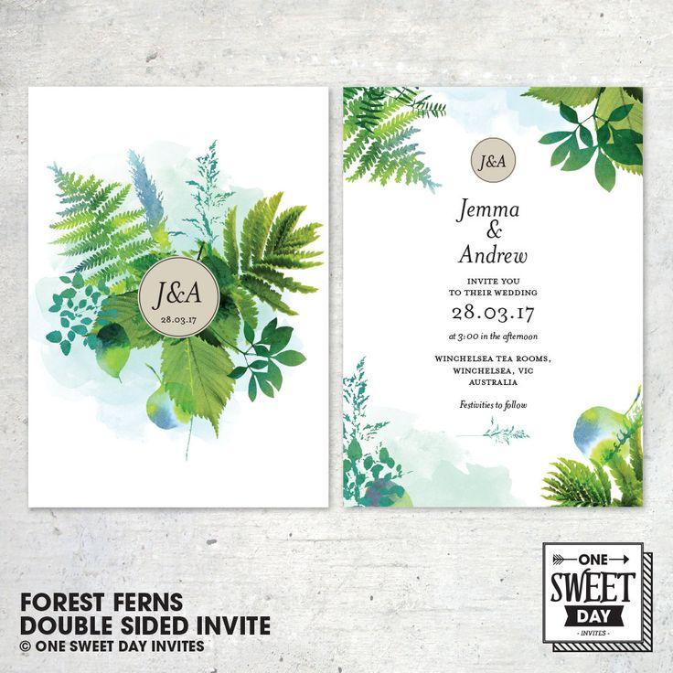 Wedding Invitation Printable, Botanical Garden, Forest, Nature, Leaves, Green, Unique, Garden Wedding, DIY print by OneSweetDayInvites on Etsy