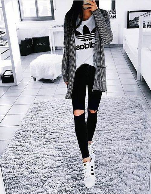 How to style your Adidas shoes http://www.justtrendygirls.com/how-to-style-your-adidas-shoes/