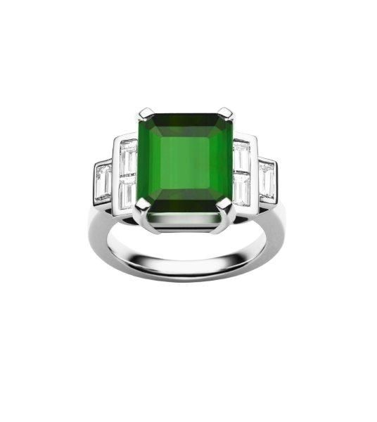 Jan Logan Green Tourmaline & Diamond 'Empire' Ring