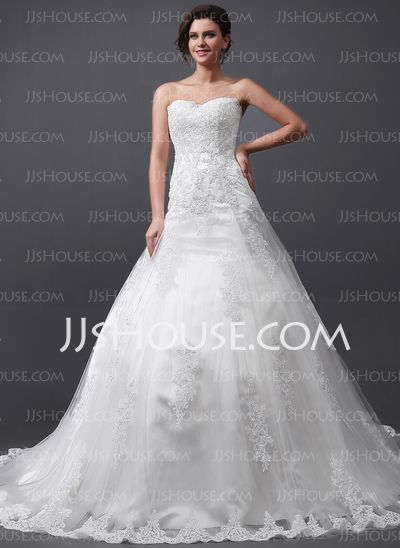 Wedding Dresses - $362.99 - A-Line/Princess Sweetheart Cathedral Train Tulle Wedding Dress With Lace (002030758) http://jjshouse.com/A-Line-Princess-Sweetheart-Cathedral-Train-Tulle-Wedding-Dress-With-Lace-002030758-g30758