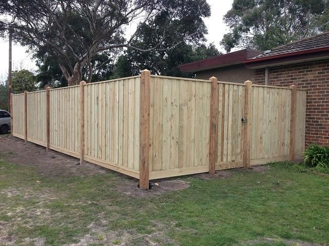 Paling front feature fence with exposed posts, points and capping with pedestrian gate. Styles of fences