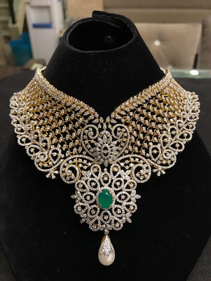 Stunning heavy bridal diamond choker
