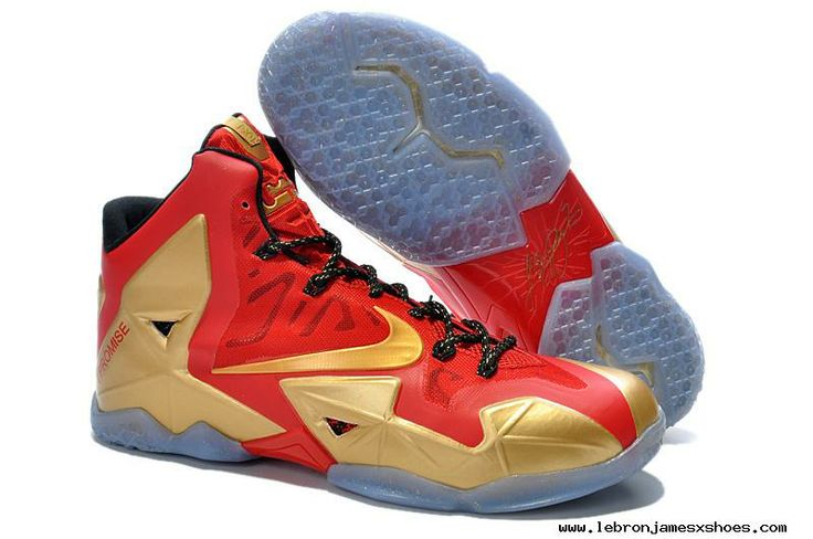 Shop King LeBron James 11 Metalic Gold/Black and Vivid Red Mens Nike Shoes \