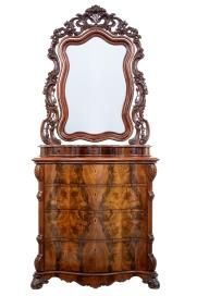 19th Century Flame Mahogany Serpentine Chest with Mirror from Debenham Antiques Ltd
