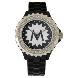 Custom Star Black and White Monogrammed Watch