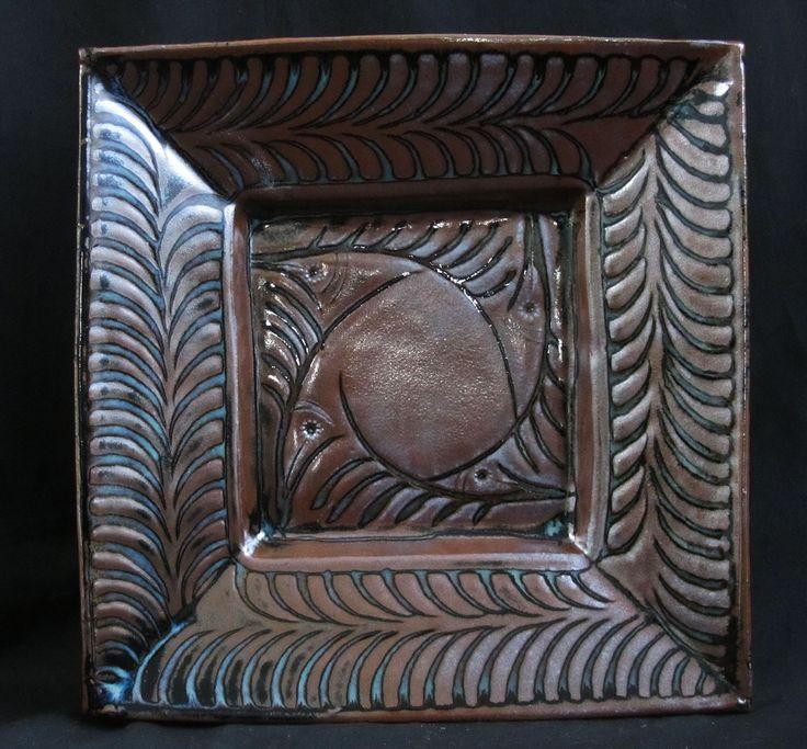 """3.Ferny birds. 10"""" square. Jun glaze over sgraffitto slip. anthonyobrienart.com"""