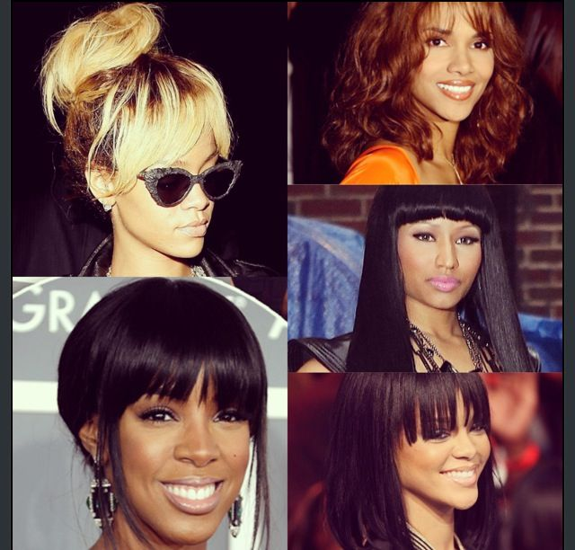 BANGS : BANGS : BANGS : There all many types of hairstyles you can wear with you bangs, from the high ponytail, short bob, curly bangs or blunt bangs. Here are some inspirational looks if your looking to make the big CHOP. #PT.2