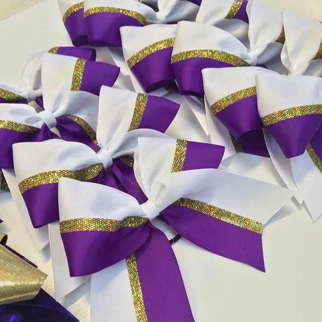 Purple and white with a gold stripe! These bows are so cute from @craftybowmama on Instagram!