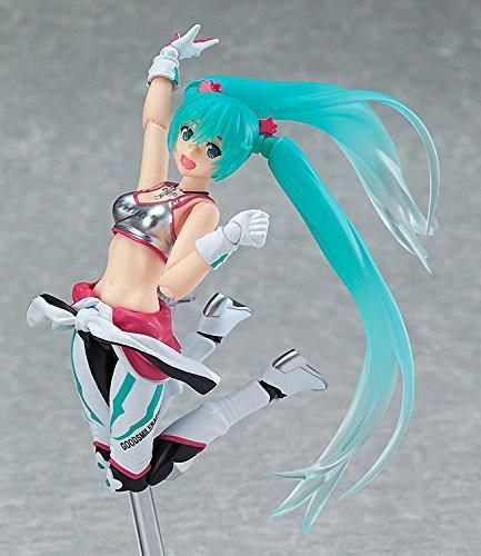 Racing Miku 2013 Figma Action Figure comes with both a standard expression as well as a bright smiling expression., Helmet, Bottle, Alternate Parts