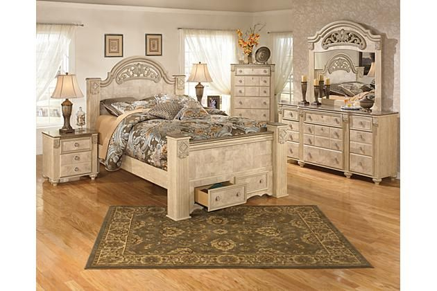 Light Beige Saveaha Queen Poster Bed With Storage View 2