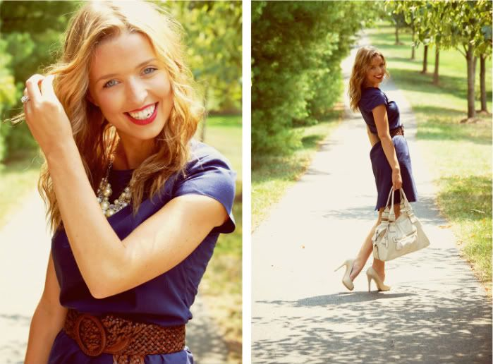 Love this simple blue dress.. would be so easy to make!
