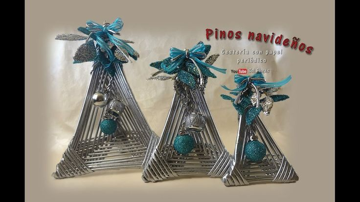 Pinos navideños, cestería con papel periódico - Christmas pins, basketry...