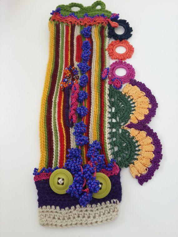 Crochet boho chic bracelet crochet cuff bracelet by SESIMTAKI
