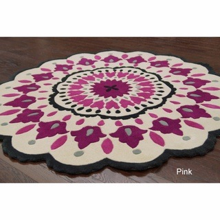 Handmade Fin Raya Floral Round Rug | Overstock.com