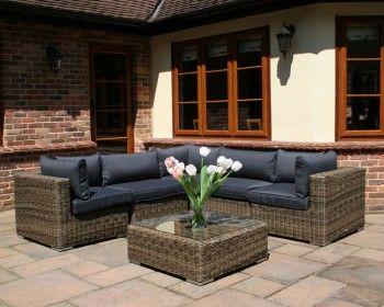 Mayfair Modular Rattan Garden Furniture Set - 6 Piece - area taken up in garden is 2.5 square m.