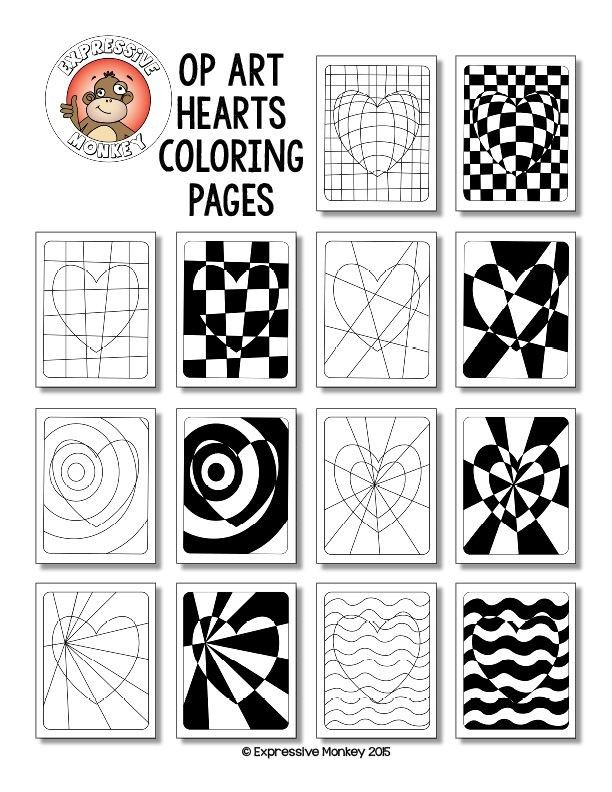 """Not only will your students will """"LOVE"""" these Op Art Hearts Coloring Pages, but you can also sneak in some lessons about colors as you have them choose a color scheme to color them in."""