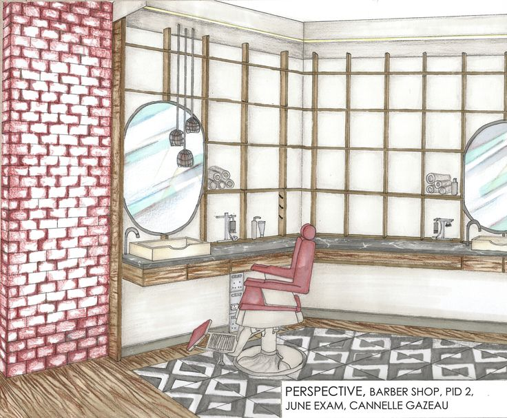Project: June Exam - Barber Shop Presentation: Perspective Drawing Student: Cannelle Gazeau
