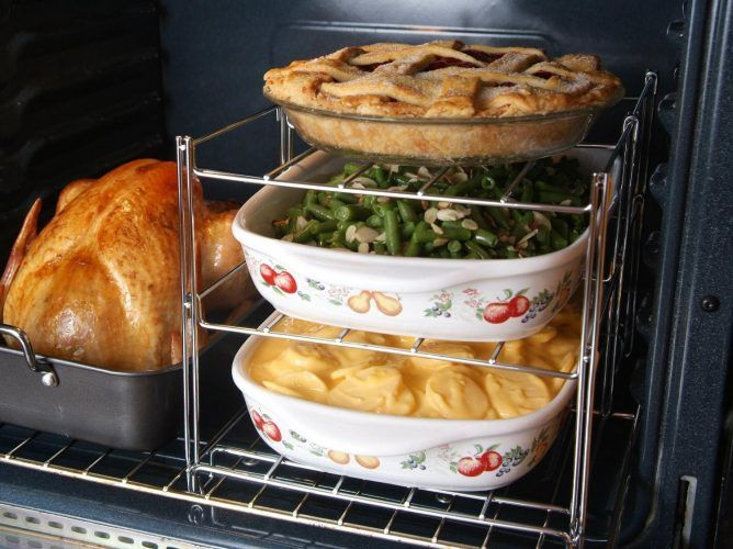 Cooking for many? Before the big day pick up this Betty Crocker 3-Tier Oven Rack for extra room in the oven.  Party and Hosting Tips and Hacks for the Holidays - Thanksgiving, Christmas, Cookie Exchanges and Beyond on Frugal Coupon Living.