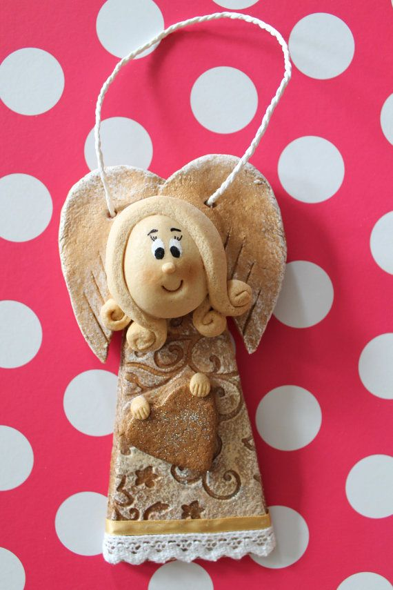 Handmade Angel gift hanging decoration by SaltDoughArt on Etsy,