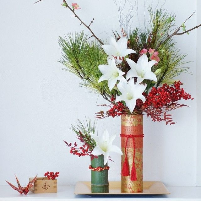 [Winter of flower color color scheme] a vase of IKEA in New Year specification!  How decoration of the traditional New Year flower