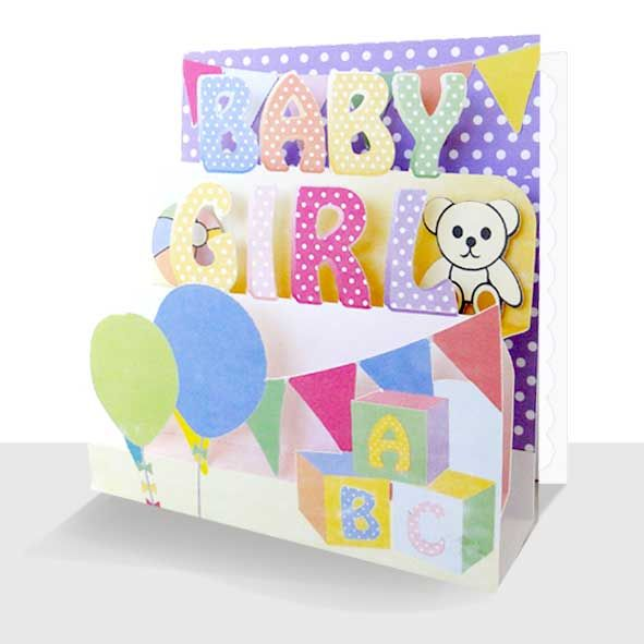3D New Baby Card - Baby Girl Greeting Card, Unique Greeting Cards Online, 3d Luxury Handmade Cards, Unusual Cute Birthday Cards and Quality Christmas Cards by Paradis Terrestre