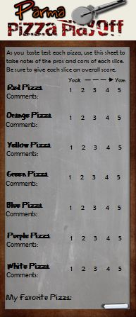 Our Score Sheet For Out Guests To Use To Rate Each Pizza