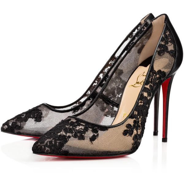 Christian Louboutin Follies Lace ($795) ❤ liked on Polyvore featuring shoes, version black, pointed toe shoes, lace high heel shoes, christian louboutin, tall shoes and transparent shoes