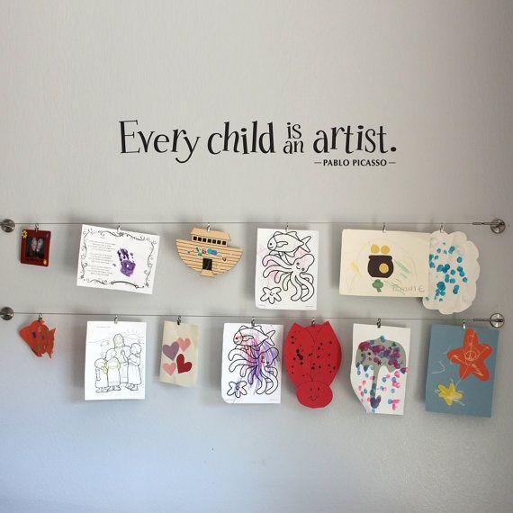Display kids artwork in playroom  #kid-playroom-ideas