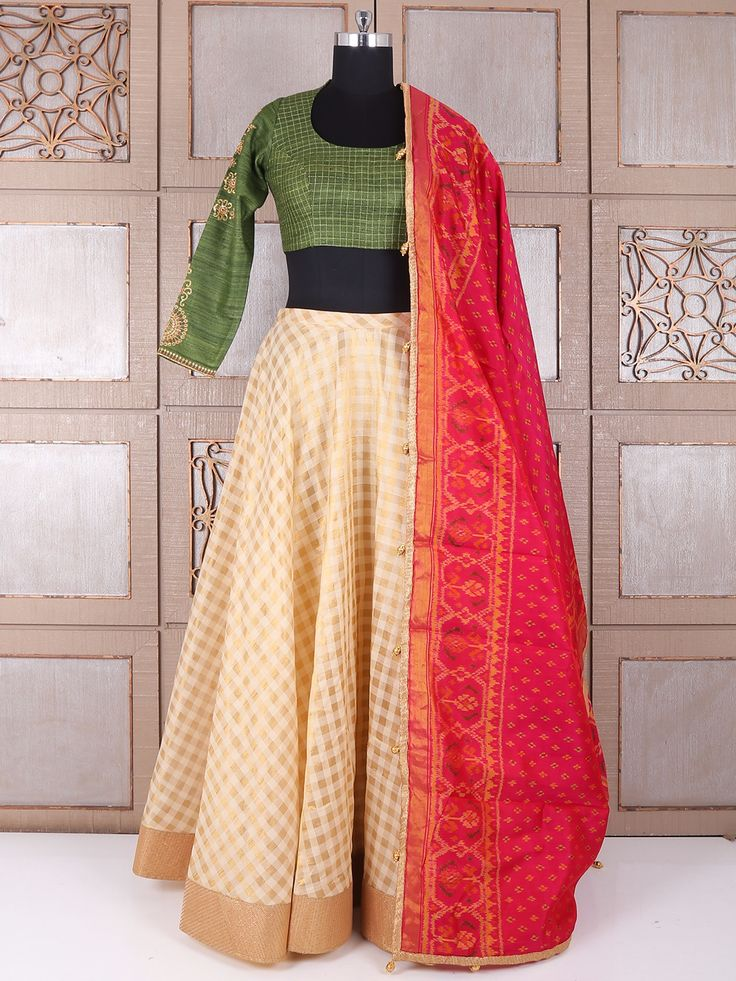 Olive And Cream Silk Lehenga Choli