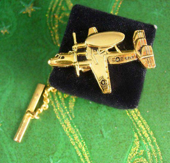 Airplane Tie clip  Vintage Navy Reconnaissance silver tie bar  military Squadron  mans jewelry  aviator gift  mens gift