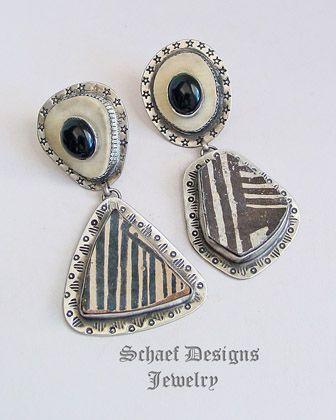 Schaef Designs Anasazi Pottery Shard, deer antler, black onyx & sterling silver asymmetrical post earrings | New Mexico