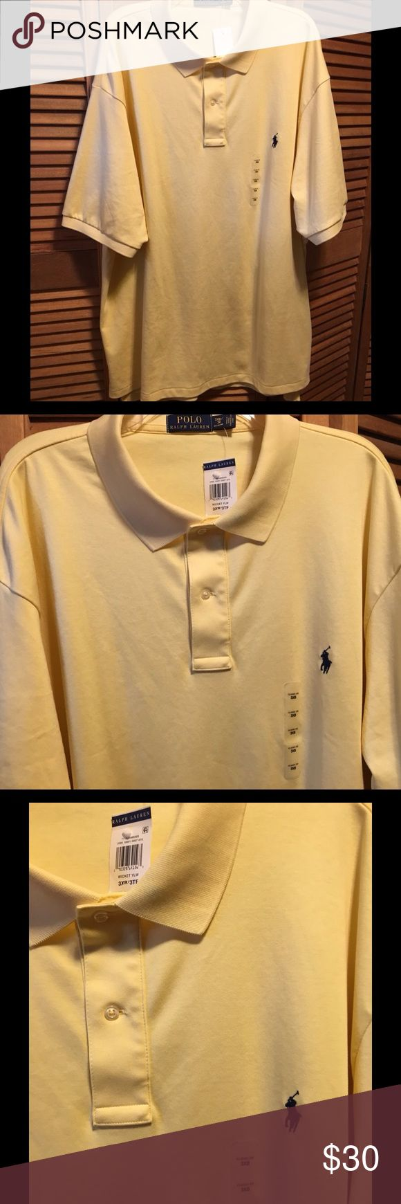 Ralph Lauren Yellow Polo Shirt Yellow polo shirt with pony logo with splits on the sides. 3XB. 100% cotton. NWT. Ralph Lauren Shirts Polos
