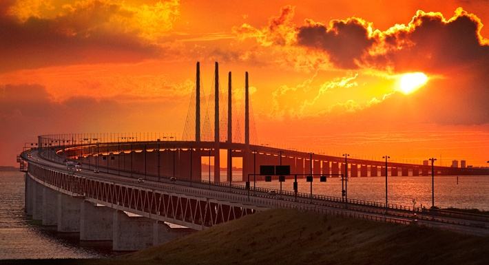 Öresundsbron mellan Sverige och Danmark.